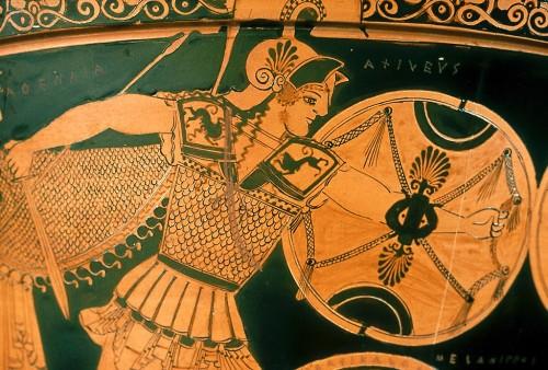 Detail of a vase depicting an Argive hoplite warrior.