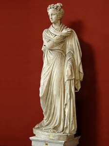 A statue of Polyhymnia, Greek muse of sacred poetry, believed to have inspired Telesilla